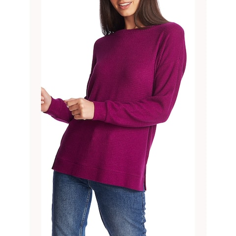 1. STATE Womens Purple Long Sleeve Jewel Neck Sweater Size L