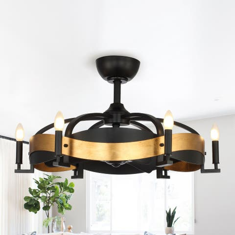 30-inch Black 3-Blade 6-Light Ceiling Fan with Remote
