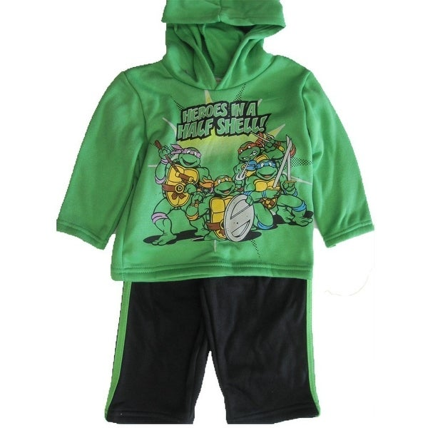 Nickelodeon Baby Boys Green Ninja Turtles Hooded 2 Pc Pants Set 12-24M