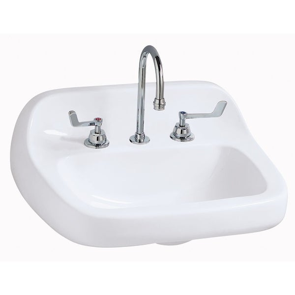 """Mansfield 2018HBNS-LO-4 Grand Isle 22"""" Vitreous China Wall Mounted Bathroom Sink with 3 Faucet Holes at 4"""" Centers - White"""
