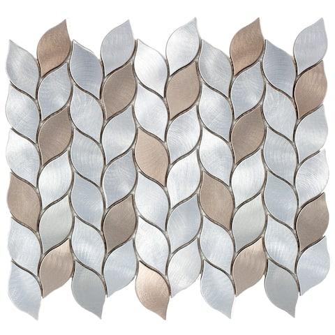 "TileGen. Leaf Shape 2.75"" x 1.25"" Aluminum Metal Mosaic Tile in Silver/Bronze Wall Tile (10 sheets/11sqft.)"