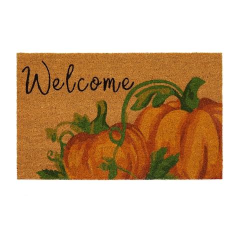 Welcome Pumpkin Fall Coir Door Mat