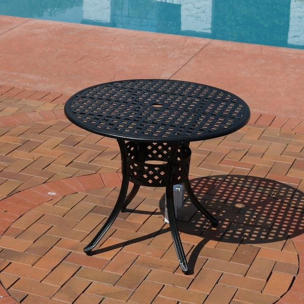 Sunnydaze Black Cast Aluminum Outdoor Round Patio Dining Table - 33-Inch - Shop Sunnydaze Black Cast Aluminum Outdoor Round Patio Dining Table