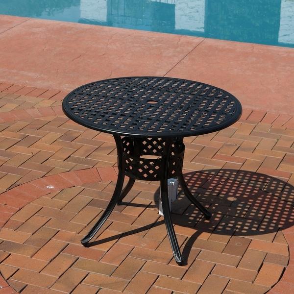 Sunnydaze Black Cast Aluminum Round Dining Table 33 Inch