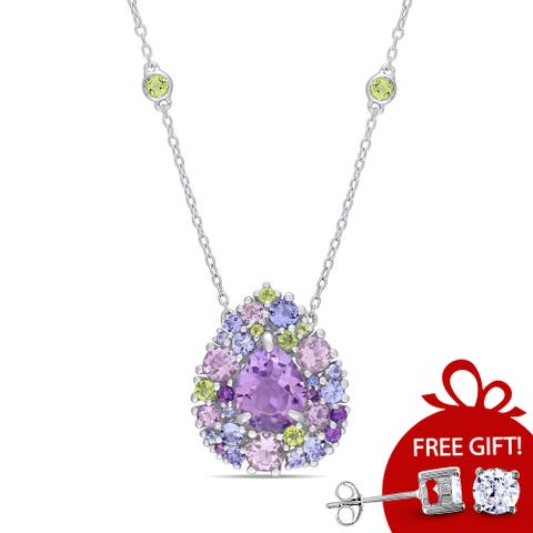 Miadora Sterling Silver Tanzanite, Rose de France, Peridot and Amethyst Teardrop Halo Station Necklace