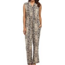 Calvin Klein NEW Beige Women's Size XS Printed Surplice Jumpsuit