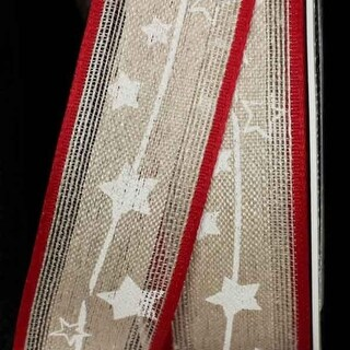 """Red and White Christmas Star Print Linen Wired Craft Ribbon 1.25"""" x 16 Yards"""