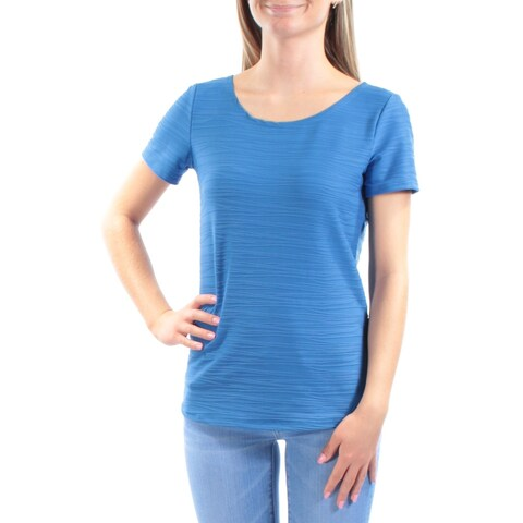 NY COLLECTION Womens Blue Textured Short Sleeve Scoop Neck Tunic Top Size: XS