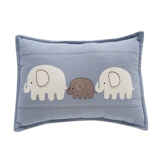 Lambs & Ivy Signature Elephant Tales Decorative Pillow - Blue, White, Animals, Modern, Elephant, Boy, Girl, Neutral