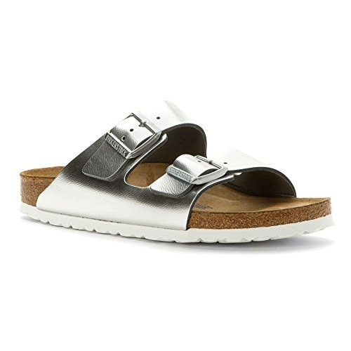 Birkenstock Women's Arizona Soft Footbed Silver Metallic Sandal