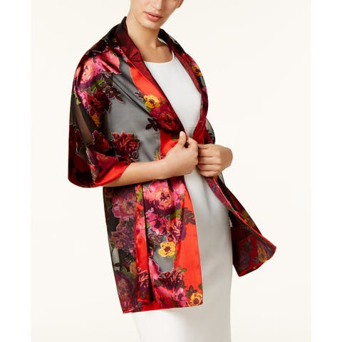 INC International Concepts Women's Floral Satin Burnout Wrap Red One Size - One Size Fits Most
