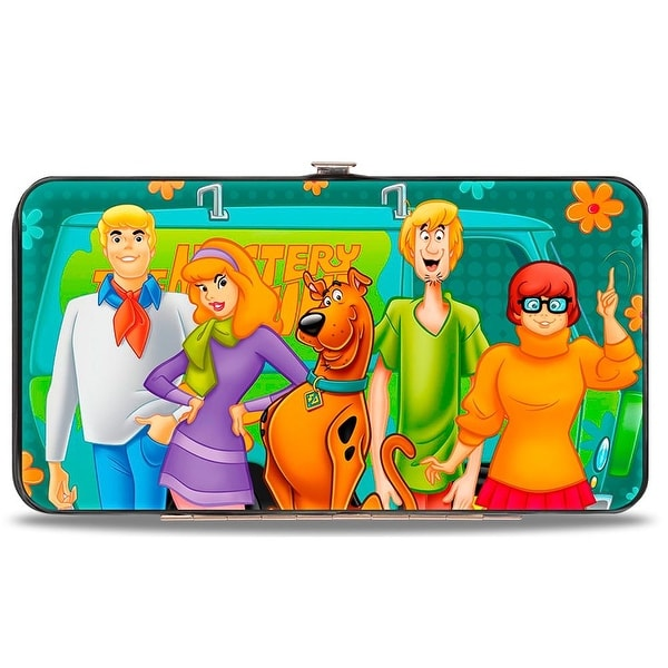 Scooby Doo 5 Character Group Pose W Mystery Machine Turquoise Blues Orange Hinge Wallet - One Size Fits most