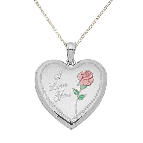 Sterling Silver Rhodium-plated 24mm Enameled Rose Heart Locket with 18-Inch Cable Chain By Versil