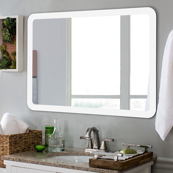 Costway LED Wall-mounted Mirror Bathroom Makeup Illuminated Rounded - 27.5'' x 20'' X 1.5''. Opens flyout.