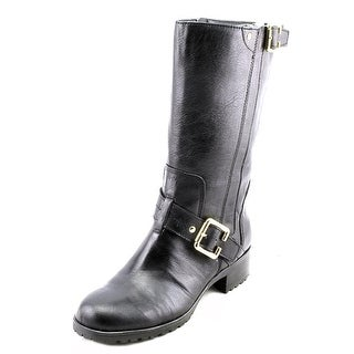 Marc Fisher Gensin Round Toe Leather Mid Calf Boot