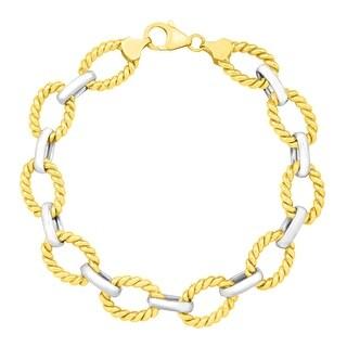 Textured Link Bracelet in 14K Gold-Bonded Sterling Silver - Two-tone