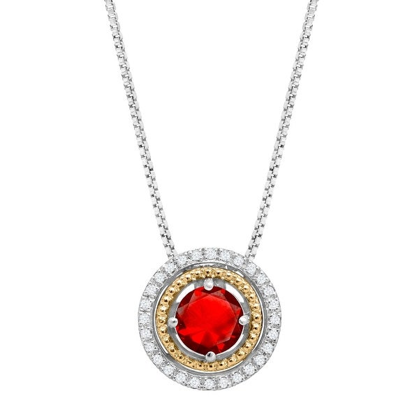 """1 1/8 ct Round-Cut Created Ruby Circle Pendant with Diamonds in Sterling Silver and 14K Gold, 18"""" - Red"""