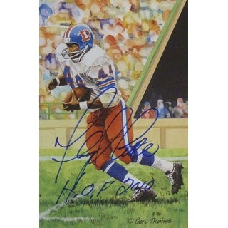 Floyd Little Autographed Denver Broncos Goal Line Art Card