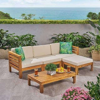 Link to Cambridge Outdoor 5 Piece Acacia Wood Sofa Set by Christopher Knight Home Similar Items in Patio Sets