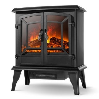 """DELLA 20"""" Freestanding Portable Electric Fireplace Stove Heater Infrared Quartz Log Flame Realistic Flame Effect 1400W"""