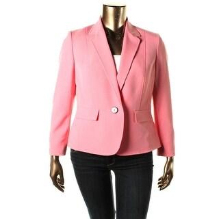 Kasper Womens Petites Dolce Vita One-Button Blazer Notch Collar Dressy