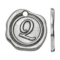 Lead-Free Pewter, Alphabet Charm Letter 'Q' 18.5x19.5mm, 1 Piece, Antiqued Silver