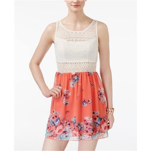 Trixxi Womens Crochet Top A-line Dress, pink, 1