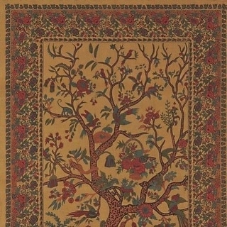 Handmade 100% Cotton Tree of Life Tapestry Tablecloth Bedspread Twin 70x104 Gold Queen
