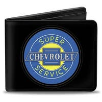 Chevy Bowtie Super Service Logo Black Blue Yellow Bi Fold Wallet - One Size Fits most