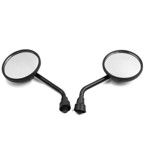 2pcs 10mm Thread Dia Flat Motorcycle Rearview Mirror Wide Side Angle Black