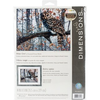 """Dimensions Counted Cross Stitch Kit 14""""X11""""-Wise Owl (14 Count)"""