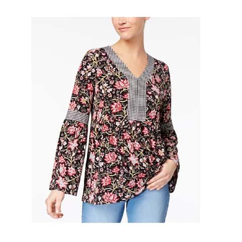 Style & Co Women's Mixed-Print Top Etched Blooms Size Large - Black