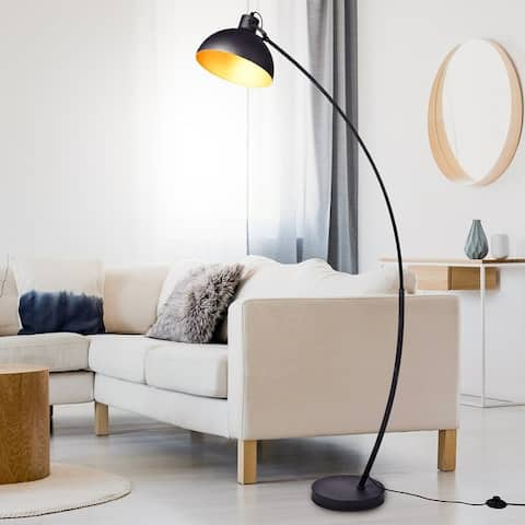 "Archiology Modern Arched Floor Lamp 63"" With Gold Shade"