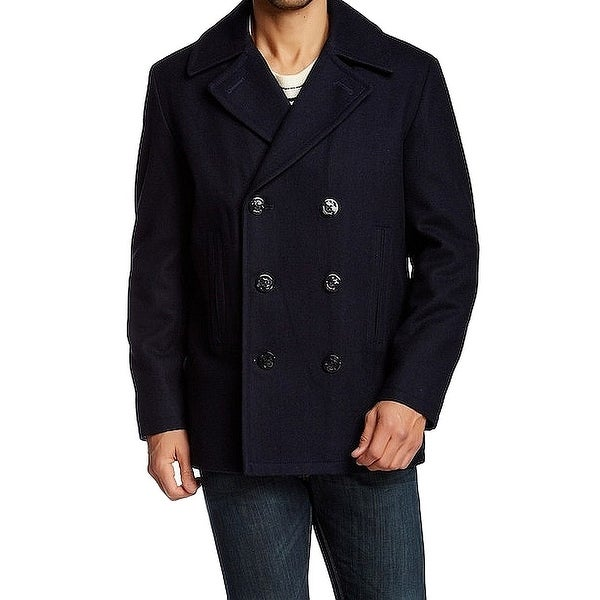 Nautica Blue Mens Size Small S Double Breasted Woold Blend Peacoat