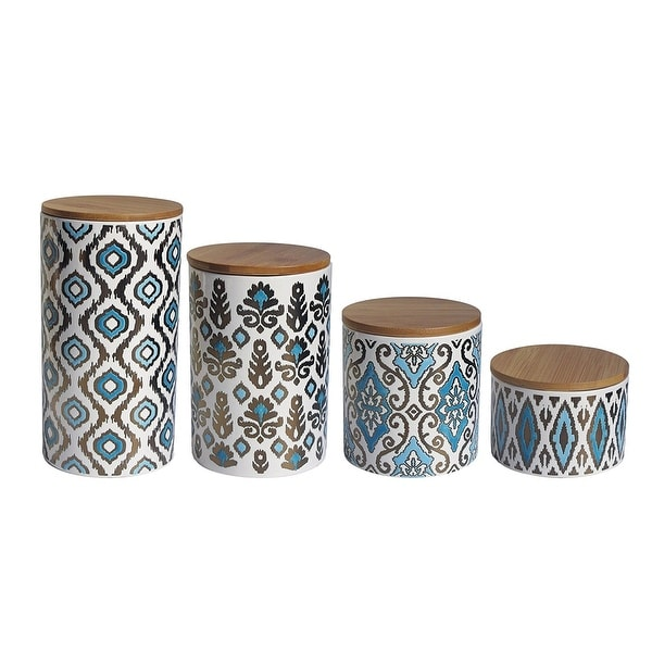 Delicieux American Atelier Metallic Gold And Blue Ceramic Canister Set Kitchen  Storage Jars With Wooden Lids,