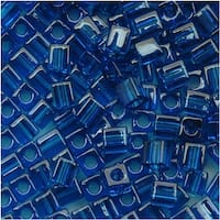 Miyuki 4mm Glass Cube Beads Transparent Capri Blue 149 (10 Grams)