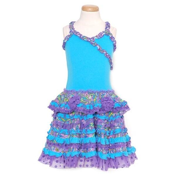 GeGe Toddler Girls Size 2T Turquoise Purple Ruffle Sleeveless Dress