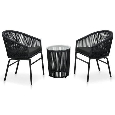 vidaXL 3 Piece Bistro Set with Cushions PVC Rattan Black