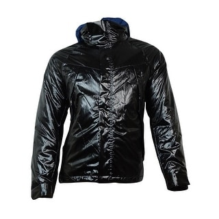 Nautica Men's Hooded Vinyl Bomber Jacket (M, True Black) - M