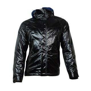 Nautica Men's Hooded Vinyl Bomber Jacket (XXL, True Black) - XxL