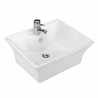 Bathroom Vessel Sink White China Newcastle Square Faucet Hole|Renovator's Supply