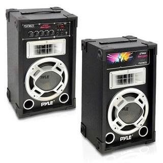 Dual 600 Watt Disco Jam Powered Two-Way PA Speaker System w/ USB/SD Readers, FM Radio, 3.5mm AUX Input  for iPod/MP3 Players