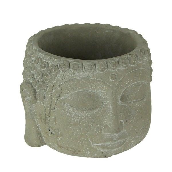 Grey Concrete Indoor Outdoor Buddha Head Planter Sculpture - 6.75 X 8.5 X 8.5 inches