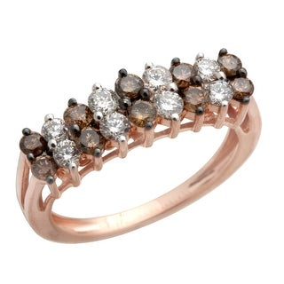 Brand New 1.00 Carat Round Brilliant Cut Natural Brown Diamond with Diamond Designer Ring. 14k Rose Gold