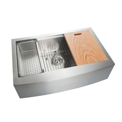 Handcrafted Farmhouse Apron Single Bowl Stainless Steel Kitchen Sink