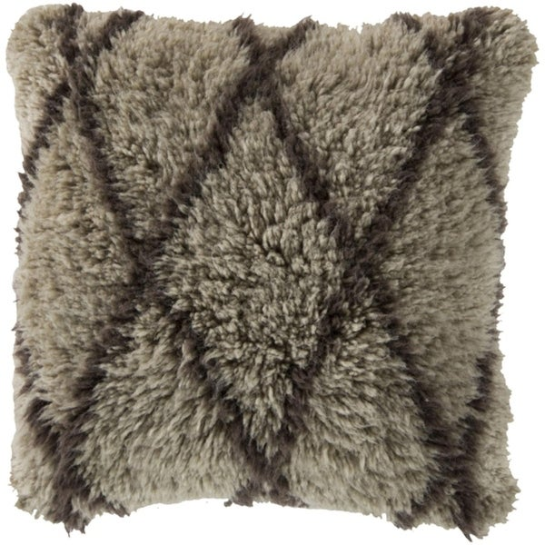 """22"""" Fine Diamonds French Charcoal Gray Decorative Square Throw Pillow - Down Filler"""
