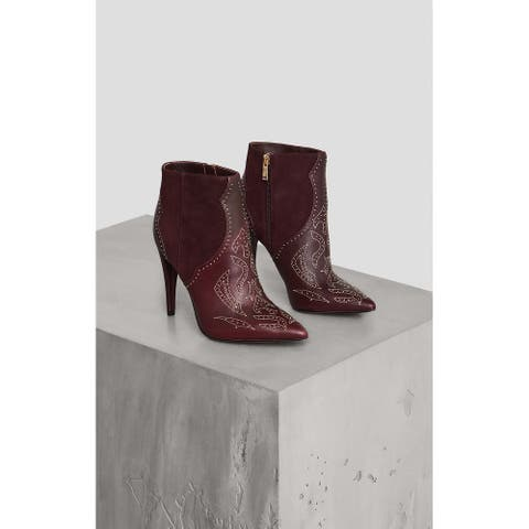 BCBG Womens 34AZ205-BBK Leather Pointed Toe Ankle Fashion Boots