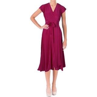 Moon & Meadow Womens Silk Sleeveless Wrap Dress