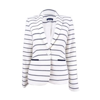 Tommy Hilfiger Women's Striped Elbow-Patch Blazer - ivory/midnight