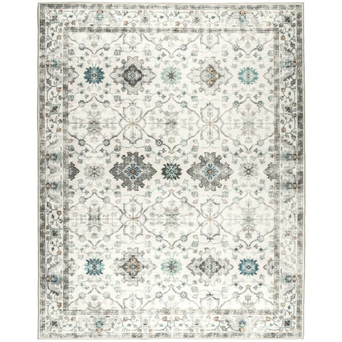 ReaLife Machine Washable - Distressed Boho Border Rug